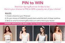 PIN to WIN BRIDAL CONTEST / Accepting entries for CAROLEE jewelry best suited for 4 specific necklines. / by CAROLEE