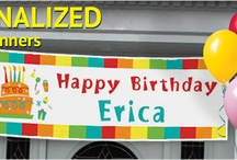 Birthday Party Banners / Shindigz has 100's of personalized banners you can create on line.  Here's a sample / by Shindigz