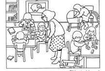 THEMA SCHOOL: kleurplaten / Kleurplaten voor groep 1-2 rondom het thema school / by Juf Lique