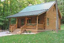 log cabins / by Primitive Folk Artist Sue Corlett