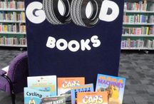 library displays / Bulletin boards, book displays, windows ideas. / by Pat Salvatini