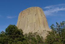 Devil's Tower National Mounument = Wyoming, USA / #DevilsTower #closeencounters #ofthe3rdkind #setting #movie #Protruding out of the #rollingprairie #rainbow #rainbows that surrounds the #BlackHills region, Devils Tower is a #monolith of uncommon #igneous #rock #phonolite All who have seen the #gigantic #stump #like #formation, known as Devils Tower, #rising some #1200feet above #climbing #climbers the #BelleFourche #River,  They called it #MateoTepee meaning #GrizzlyBearLodge, and had several #legends #origin #Wyoming #USA #mountain #monument / by David Heath