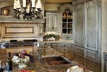 French Country Kitchens and Breakfast Rooms / I love big open kitchens that include a gathering room/great room with a large fireplace and lots of french doors and windows / by Bunnie Rubiano