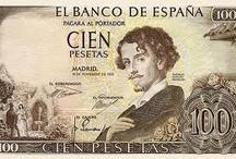 Escritores en billetes / Recopilación escritores que quedaron inmoratlizados en billetes de papel moneda de curso legal. / by DesEquiLIBROS