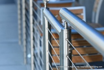 Stainless Steel Handrail Systems / http://stainlesscablerailing.com Do you like the look of stainless steel handrail? Check out our stainless handrail system.  Repin or comments :) / by Stainless Cable & Railing