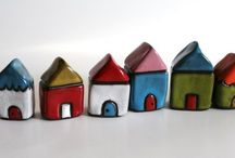 House motif in art / I'm so drawn to sweet quirky colorful little houses... in real life and in art.  / by Martha Cole