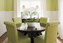 dining room / dining room decor in greens and whites, great dishes and organizing solutions / by Theresa Turner