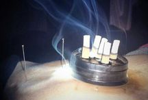 """Moxibustion / Moxibustion uses heat to warm acupuncture points. The moxa (dried mugwart, a medicinal herb) is lit and burns like incense. The combination of the heat and the medicinal qualities of the moxa stimulates circulation and balances the flow of qi. The practitioner lights a cigar-like stick of moxa and holds it near the skin until that area is warm. Variations include small sticks of moxa in a barrier or """"pot"""" that is laid on the skin, or molded moxa placed on the needle. / by Best Health Option"""