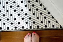 """Bungalow bathroom remodel: inspiration and results / I am doing a very low-budget """"remodel"""" of the bathroom in my 1911 bungalow house. The tub stays, the sink and toilet get replaced, the floor gets tiled... also paint and wainscoting.  Some of the photos here are of my bathroom so you can see where the inspiration led! / by Wendi Dunlap"""
