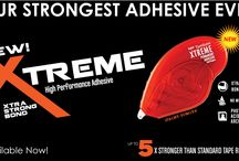 Xtreme Adhesive  / High performance tape runner works on a variety of hard to glue surfaces. Xtreme Adhesive is 5X stronger than standard tape runners. Adheres to a variety of surfaces including paper, cardstock, cork, wood, fabric, glass, plastic and rubber.  For best results: roll to apply and swipe tip to the side for clean application.  PAT approved (Photographic Activity Test).  1/3 in x 472 in.  Permanent. / by Tombow USA
