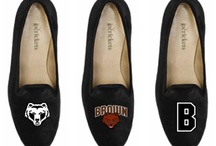 Brown University Shoes / Brown University logo suede and velvet slipper shoes for men and women. / by JP Crickets University and Collection Loafers jpcrickets