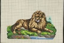 Berlin Woolwork - Animals - Exotic animals from far away and myth / African, Middle Eastern, South American, Asian animal life--the nineteenth century embroiderer loved it all. / by Laura Jones