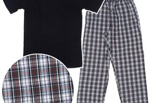 Cotton Pajamas for Men / These cotton pajama sets include a knit, vneck top and woven bottoms. / by Crazy For Bargains Pajamas