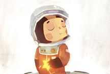Funny monsters in space illustration / by Jill Lycoops