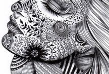 Zentangle portrait project ideas / by Sarah Sparks