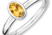 Citrine Rings / Citrine is the birthstone for the month of November. Citrine is a yellow to brown quartz. The name comes from the Latin word for yellow, citrina. Genuine citrine is also known as golden topaz. Citrine is rated a 7 on the Mohs hardness scale. / by Joy Jewelers