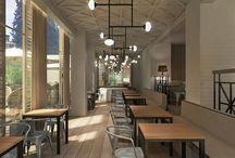 Irish Corner pub en Madrid / Renders que hicimos para un interiorista enseñando los dos sectores más relevantes del pub: la zona de Galería junto a la terraza exterior y el salón principal, ambos muy estilosos / by AB positivo 3D