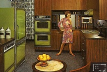Retro kitchens: warning- avocado colored appliances and Formica galore / by Flaherty Roscitto
