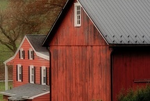 RED 1 Buildings ~ Houses, BARNS, etc  / I just love a red painted building, it's not likely I'll have one at this point in life, except for the ones I collect here.   . . . but that's just fine.  :)   / by Sandy SKDCP