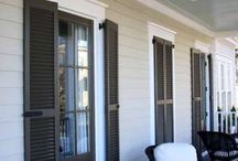 Premium Mortise and Tenon Joinery - Custom Exterior Cedar Shutters / Southern Shutter Company manufactures these Western Red Cedar exterior wood shutters featuring time-proven MORTISE and TENON JOINERY - no interior dowels and screws like many use now days. Each of these Exterior louvered shutter lines can be crossed with their sister paneled shutter to create custom variations of exterior combination shutters. Built to last, these mortise and tenon exterior wood shutters will provide a lifetime of service and are protected by a limited lifetime warranty. / by Larson Shutter Company