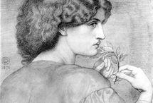 Dante Gabrielle Rossetti - Jane Morris Muse & others / Drawings, pen, pastels & chalk  / by LeszekS