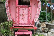 A gypsy cart (PINK) or CUTE trailer !!! parked  outside my dds house..please i need a space of my own / by Barbara Sullivan