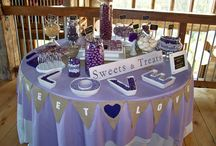 Events Beyond Rustic Purple & Gray Barn Wedding / Event Design & Coordinator  : Candy Tables, Sweets & Treat Displays, Dessert Bars Wooden Cake/Cupcake Stand, Wooden Signs, Centerpieces and more  / by Events Beyond {Event Designer & Planner}
