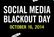 """Social Media Blackout Day / Join us in our first-ever Social Media Blackout Day! Take the pledge and unplug from your social networks for 24 hours—we dare you! D-Day is Thursday, October 16, so get all the """"Pinning,"""" """"Tweeting,"""" and """"Liking"""" out of your system!   Check out Socialmediablackoutday.com for full details on how to participate and download fun worksheets from our new book, The Anti-Social Network Journal—written by author Marc Hartzman—to use on the day of. http://bit.ly/1vINVyq  www.knockknockstuff.com/blog/ / by Knock Knock"""