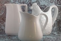 white pitchers & dishware / by Avril Crundwell