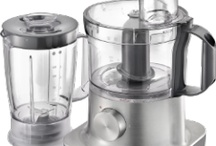 Food Processors / The food processor is a kitchen appliance used to ease off the time consuming tasks used in the preparation of food. These are actually an electric motor driven appliances very much like the blenders with fixed blades and different attachments with it. It is mandatory to use some water before using them at the start of chopping process.Its functions are as follows: Slicing / Chopping vegetables Grinding of nuts,seeds Shredding of cheese or vegetables Pureeing For dough preparation   / by Rosey Watson