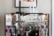 BARS + BAR CARTS / Inspiration for creating your very own bar at home. No matter how big or small, every home needs one even if you don't drink— stock your bar with your favorite sodas or juices. / by Tonia Lee