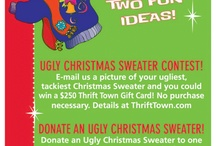 Thrift Town's Ugly Christmas Sweater Contest / Help Thrift Town determine our winners for our annual Ugly Christmas Sweater Contest! The total Likes & Repins an entry receives will count toward that entries total votes. Contest information can be found at 