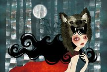 """Art - Red Riding Hood / """"Little girls, this seems to say Never stop upon the way Never trust a stranger friend No-one knows where it may end As you're pretty, so be wise Wolves may lurk in every guise Now as then, 'tis simple truth Sweetest tongue has sharpest tooth."""" - Rosaleen in The Company Of Wolves / by Stacey Merrill"""