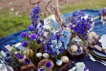 Royal Blue, teal and cobalt Decor / Blue florals, blue wedding cakes, blue table scapes, blue invitations, blue centerpieces / by Shaadi Bazaar
