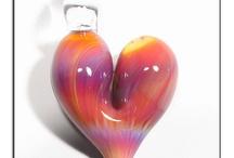 Heart Glass Pendants / Glass Heart Pendants handmade glass jewelry / by GlassPeace