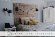 master bedroom  / chunky headboard, various textures, simple nautral pallet with a pop of color, a little bit country, but pretty eclectic, and maybe a ruffle here and there / by Lauren Farley
