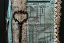 Fabric journals 2, other lacy stuff / Mostly fabric journals, but some odd pieces of pretty creations / by Lynne Hughes