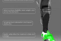 Protesis de pierna / diferentes configuraciones de prótesis de pierna actuales y futuristas / by Rivera Diseño