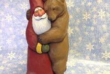 Santa woodcarvings / by Bob Pitts