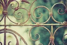 Through My Garden Gate / Walking through my dream garden.  Lots of moss, chippy paint, vintage ironwork.   / by Mary Lozinak