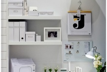 """HQ / Our dream office space is all white with pops of color and filled with useful """"chatchkas"""" and accessories. It also has fresh flowers! / by Fatty Sundays"""