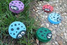 Milk jug lids crafts / by Alyssa Brown