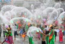 Songkran, annual water festival. / New Year celebration with water, fun and mayhem, called Songkran. / by Island Info Samui