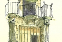 Line and Wash / Watercolour washes with ink outlines. Many subjects but mostly buildings / by vampireweasel