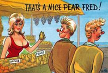Seaside Postcards humour / In the early 1930s, cartoon-style saucy postcards became widespread, and at the peak of their popularity the sale of saucy #postcards reached a massive 16 million a year. They were often bawdy in nature, making use of innuendo and double entendres and traditionally featured stereotypical characters such as vicars, large ladies and put-upon husbands / by timespliters