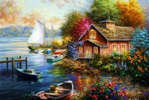 Art I Love ~ Take Me Home / Cottages , houses, barns, mail boxes, interiors, exteriors and Gardens in painting. I tried to select paintings that have no people in them. You may find some paintings concerning this subject in one of the other Art I Love ~ sections.  / by A. Collector of Pictures