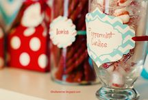 Itsy Belles Red & Aqua Christmas Party / Red Aqua Christmas Holiday Party Printables / by Christy of Itsy Belle