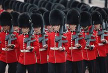 ♔ Trooping the Colour 2014 / The custom dates back to the time of Charles II in the 17th Century when the Colours of a regiment were used as a rallying point in battle & were trooped in front of the soldiers every day to make sure that every man could recognise his own regiment. The first traceable mention of The Sovereign's Birthday being 'kept' by the Grenadier Guards is in 1748 and again, after George III became King in 1760, it was ordered that parades should mark the King's Birthday.  / by Melissa