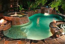 Poolscapes / Outdoor pool spa landscape designs / by Lisa Stec