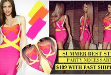 Promotions,top quality bandage dress, / Colorful Strap Bandage Dress,before $130.7  now $109 , / by Emily Dandial